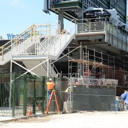 2:11 p.m. New gate area, in the right-field corner, is almost completed -