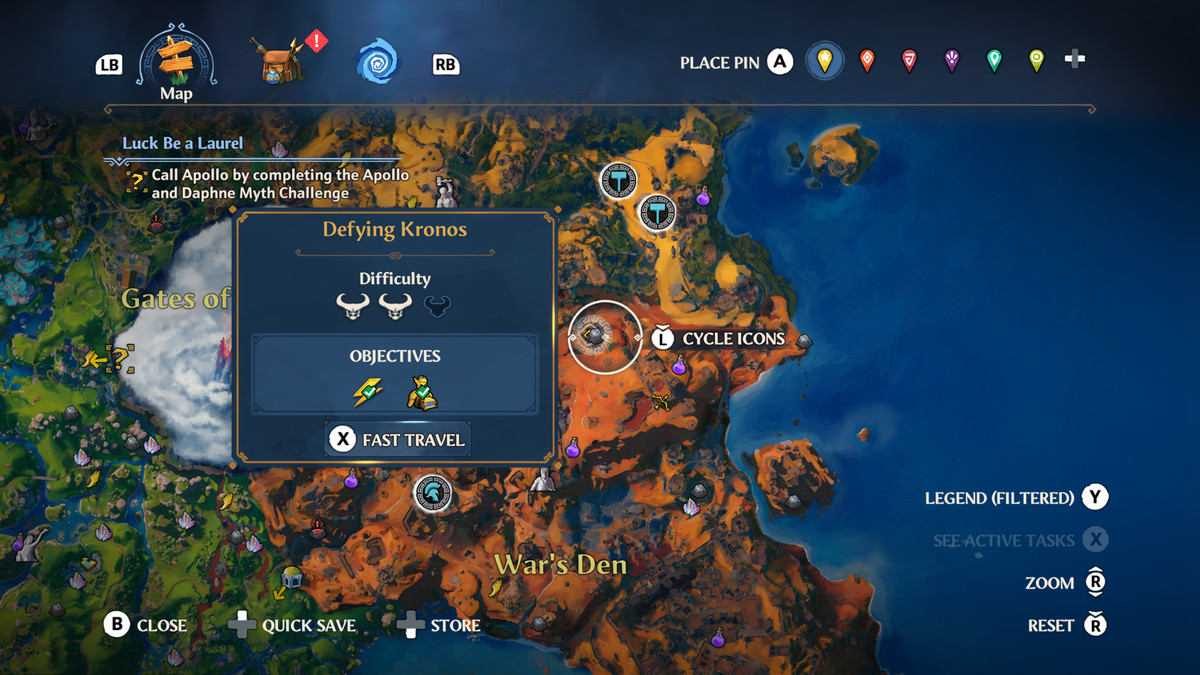 A map screenshot of the Defying Kronos Vault of Tartaros in Immortals Fenyx Rising