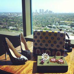 Arty accessories overlooking the LA skyline