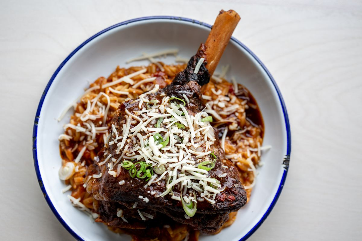 A lamb shank, fully cooked, sits in a wide white bowl with blue trim.