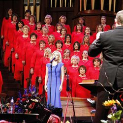 Guest artist Katherine Jenkins performs with Mormon Tabernacle Choir and Orchestra at Temple Square as associate music director Ryan Murphy conducts during dress rehearsal July 19, 2012 of Pioneer Day concert.
