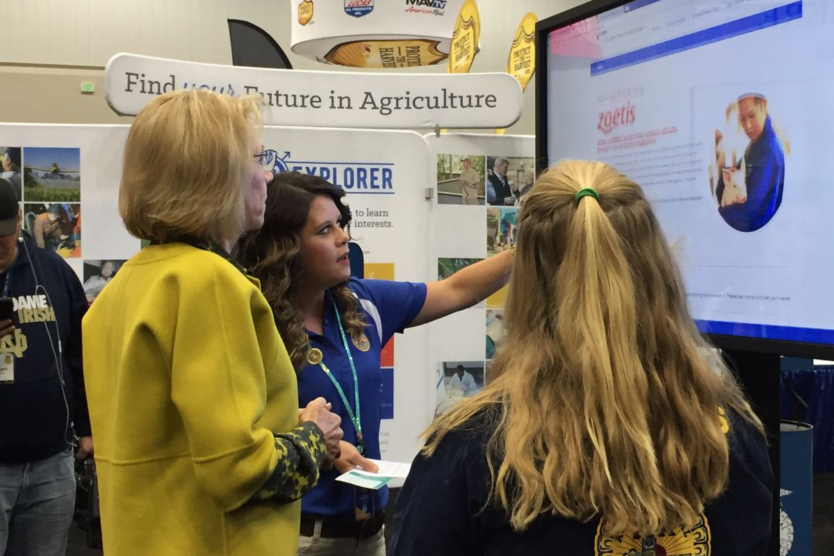 During her visit to the national FFA convention in Indianapolis, U.S. Secretary of Education Betsy DeVos spoke with a student and FFA staffer about a new tool to help kids learn about jobs in agriculture.