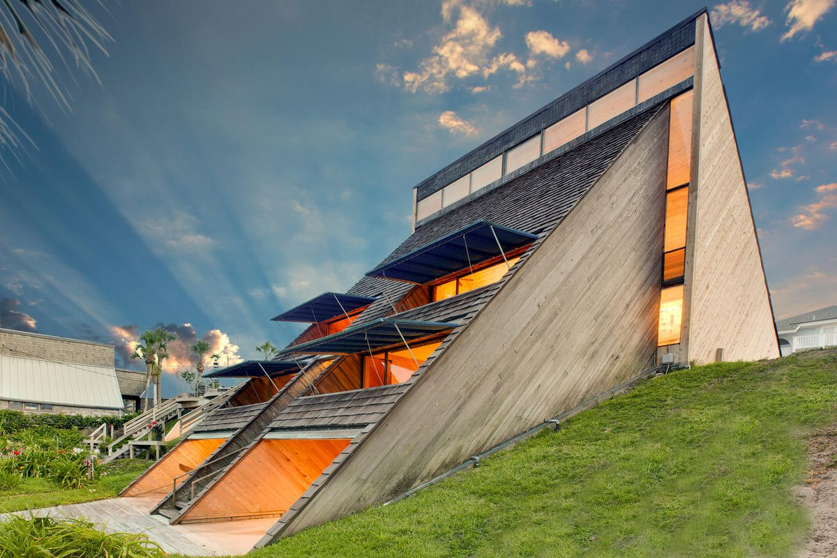 The unique home comprises two triangular prisms. Photos by Duane Talley  courtesy of Modern Sarasota