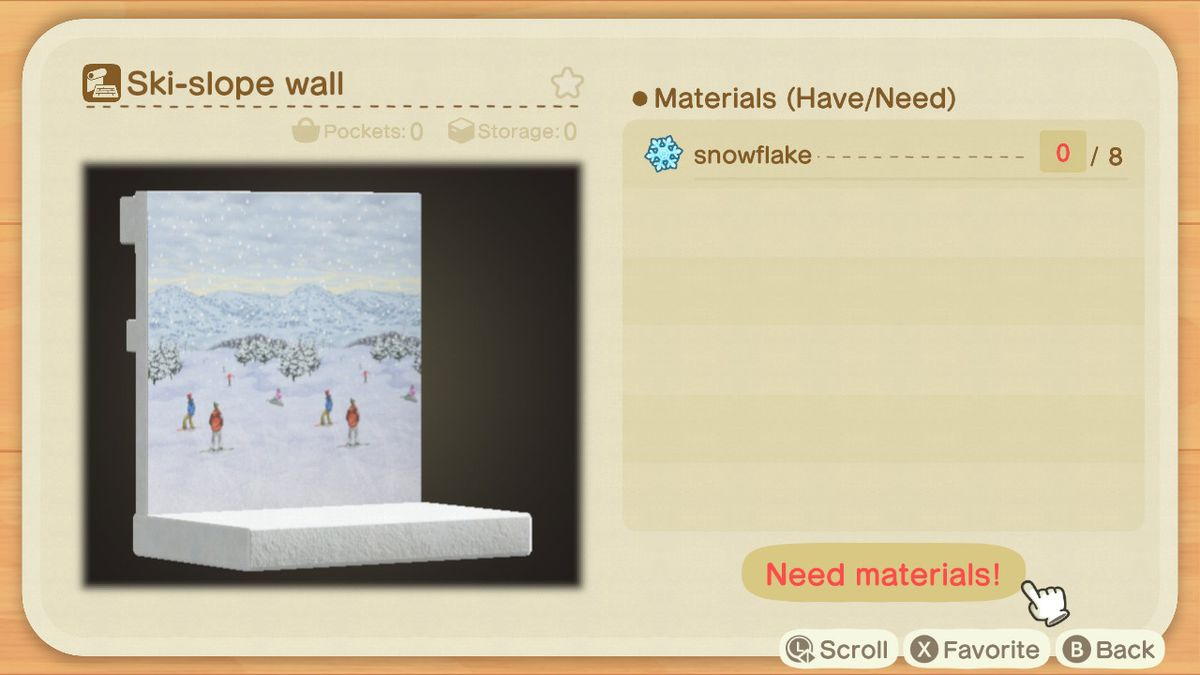 An Animal Crossing recipe for a Ski-slope Wall