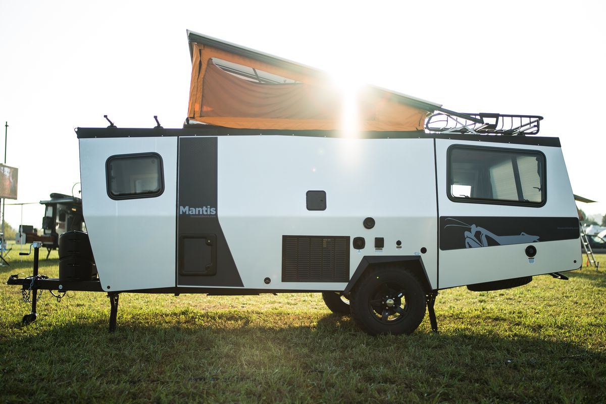 Taxa outdoors debuts the mantis a lightweight camper that for Rv trailer with garage
