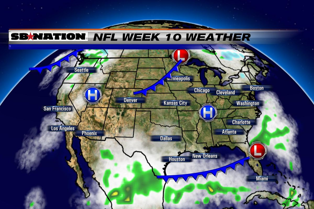 NFL Weather Forecast Week  More Quiet Weather Across The - Map of united states weather forecast
