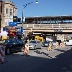 Traffic backed up on westbound Addison Street, at Sheffield Avenue