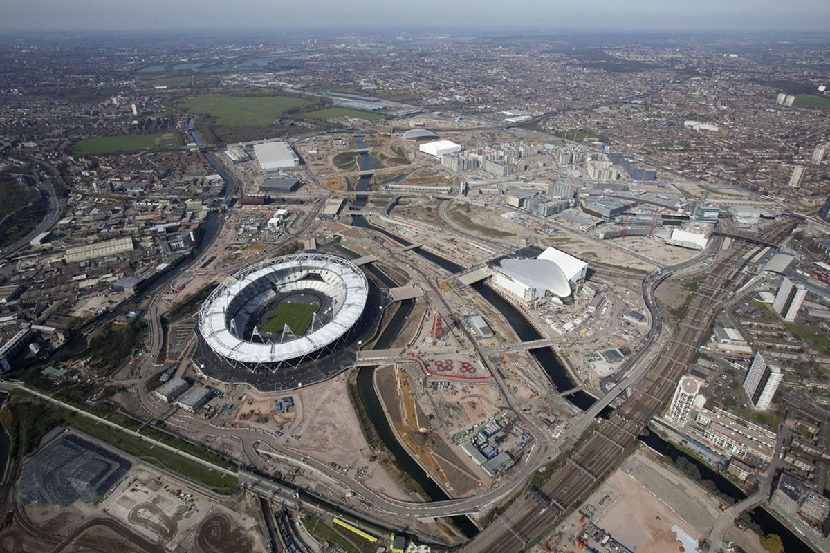 LONDON, ENGLAND - MARCH 24:  In this handout image provided by the Olympic Delivery Authority an aerial view of the Olympic Stadium on March 24, 2012 in London, England . (Photo by Anthony Charlton/Olympic Delivery Authority via Getty Images)