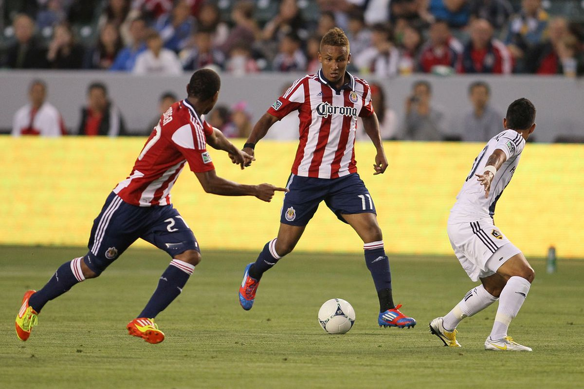 CARSON, CA - MAY 19:  Correa and Agudelo have been with Chivas for less than a month altogether, but made a major impact Saturday (Photo by Victor Decolongon/Getty Images)