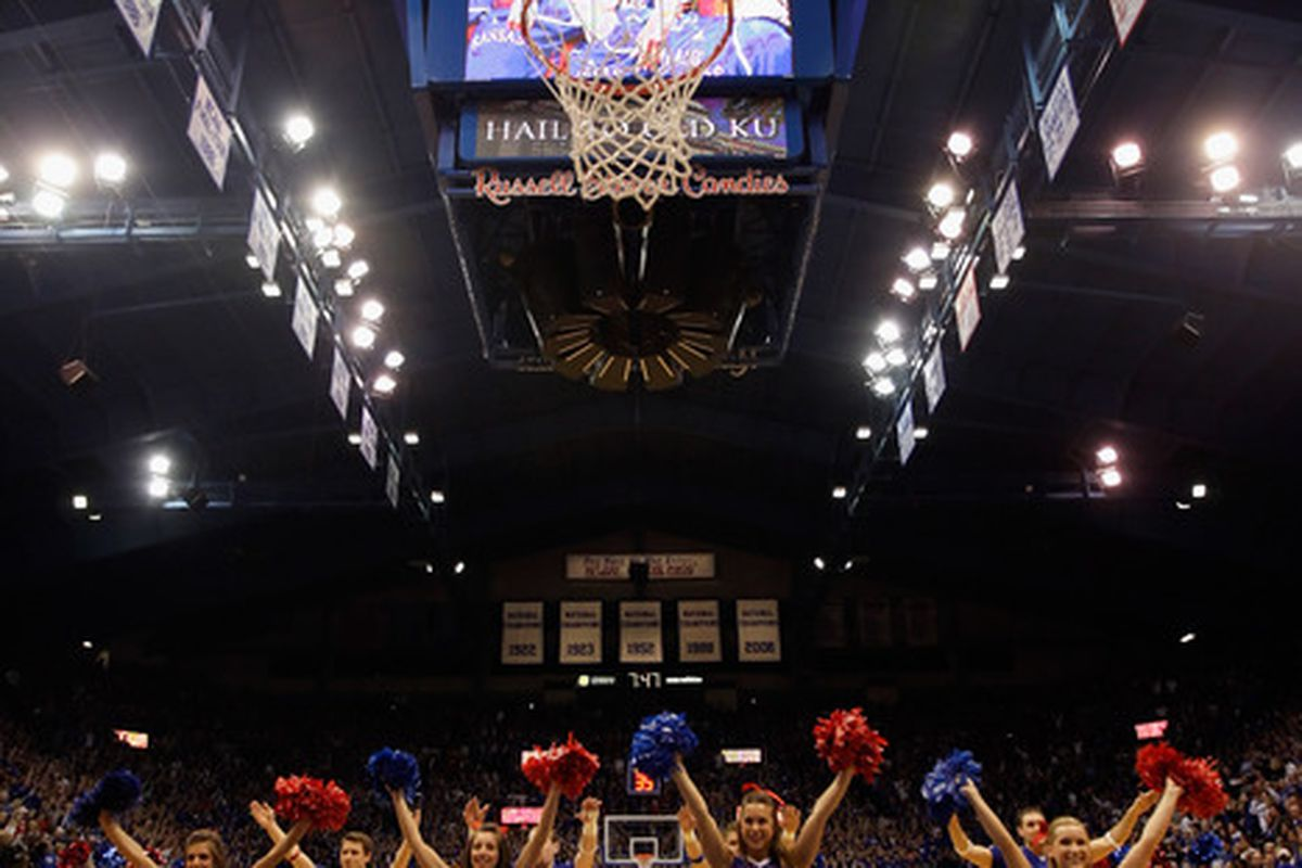 LAWRENCE, KS - MARCH 02:  Kansas Jayhawk cheerleaders perform prior to the start of the game between the Kansas Jayhawks and the Texas A&M Aggies on March 2, 2011 at Allen Fieldhouse in Lawrence, Kansas.  (Photo by Jamie Squire/Getty Images)