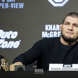 Khabib Nurmagomedov on the dais Thursday at the UFC 229 press conference in New York at Radio City Music Hall.