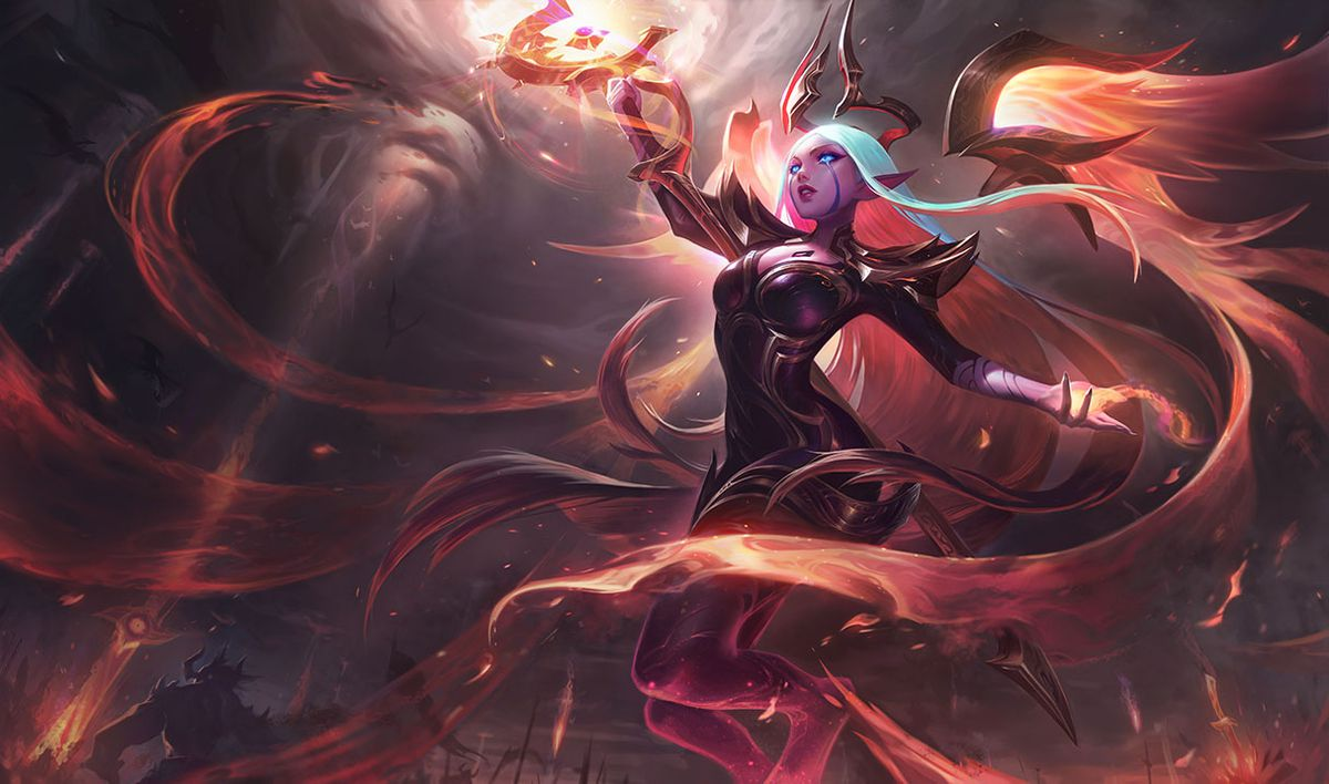 Nightbringer Soraka floats in the sky, surrounded by fiery darkness