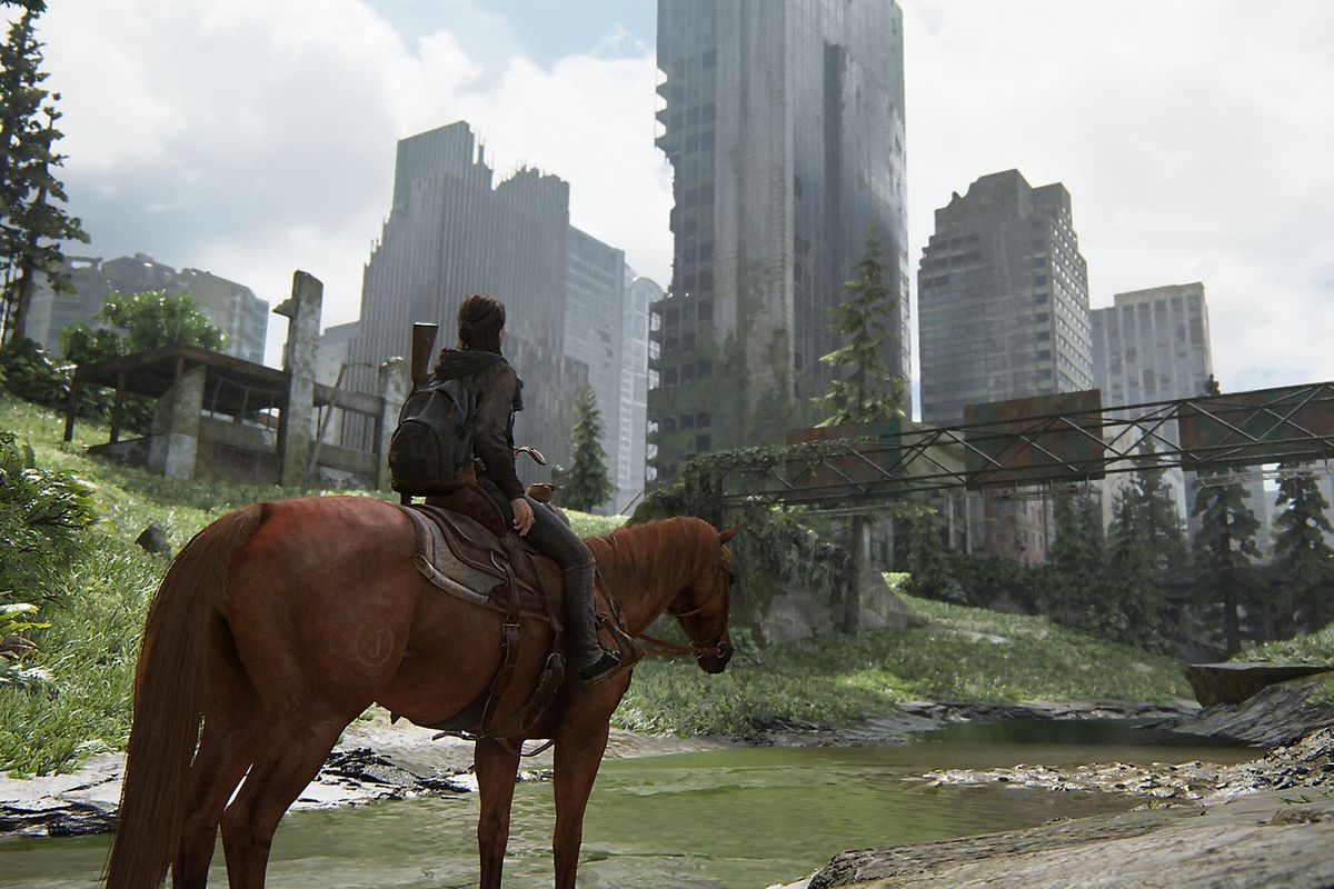 Ellie sits on a horse in The Last of Us Part 2.