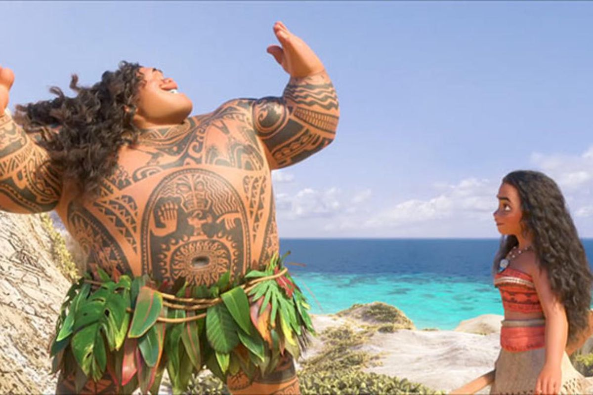 """Moana watches the demigod Maui in Disney's animated feature """"Moana,"""" now on Blu-ray and DVD."""