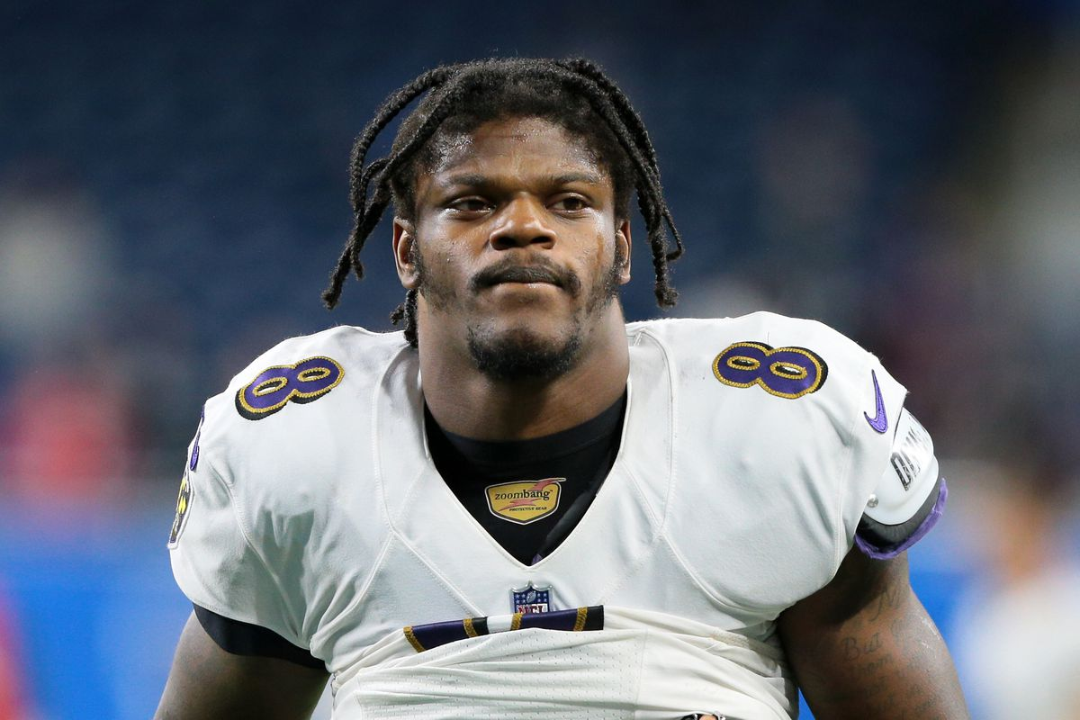 Baltimore Ravens quarterback Lamar Jackson (8) walks off the field after the conclusion of an NFL football game against the Detroit Lions in Detroit, Michigan USA, on Sunday, September 26, 2021.
