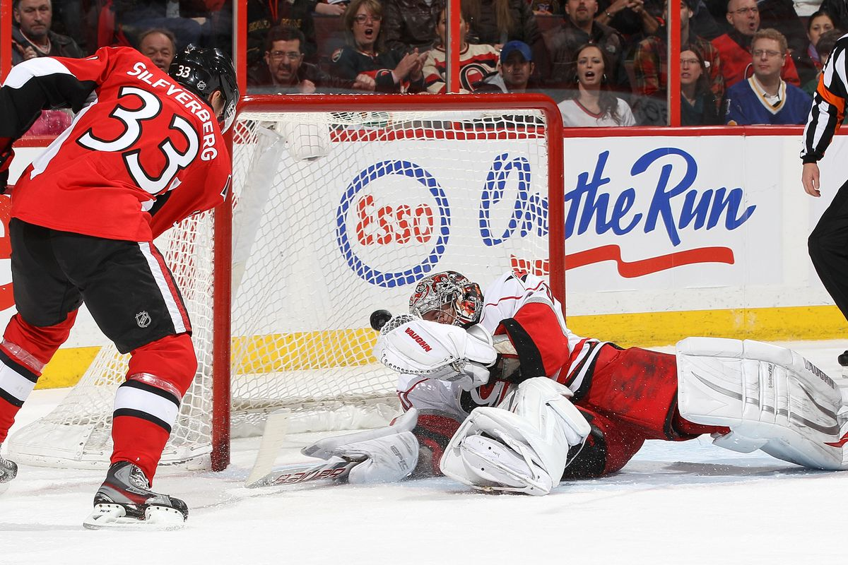 Cam Ward with one of several saves at ScotiaBank Place