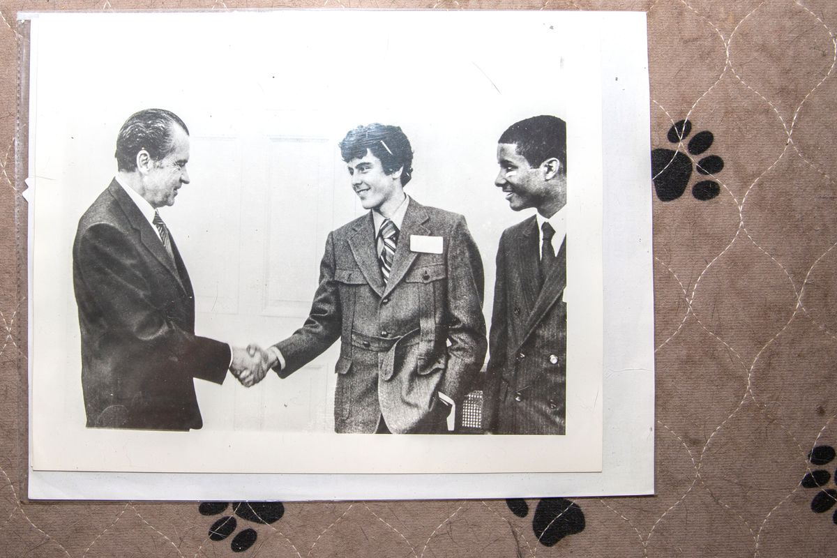 A young Curtis Sliwa meets Richard Nixon as a part of a group of newspaper deliverers.