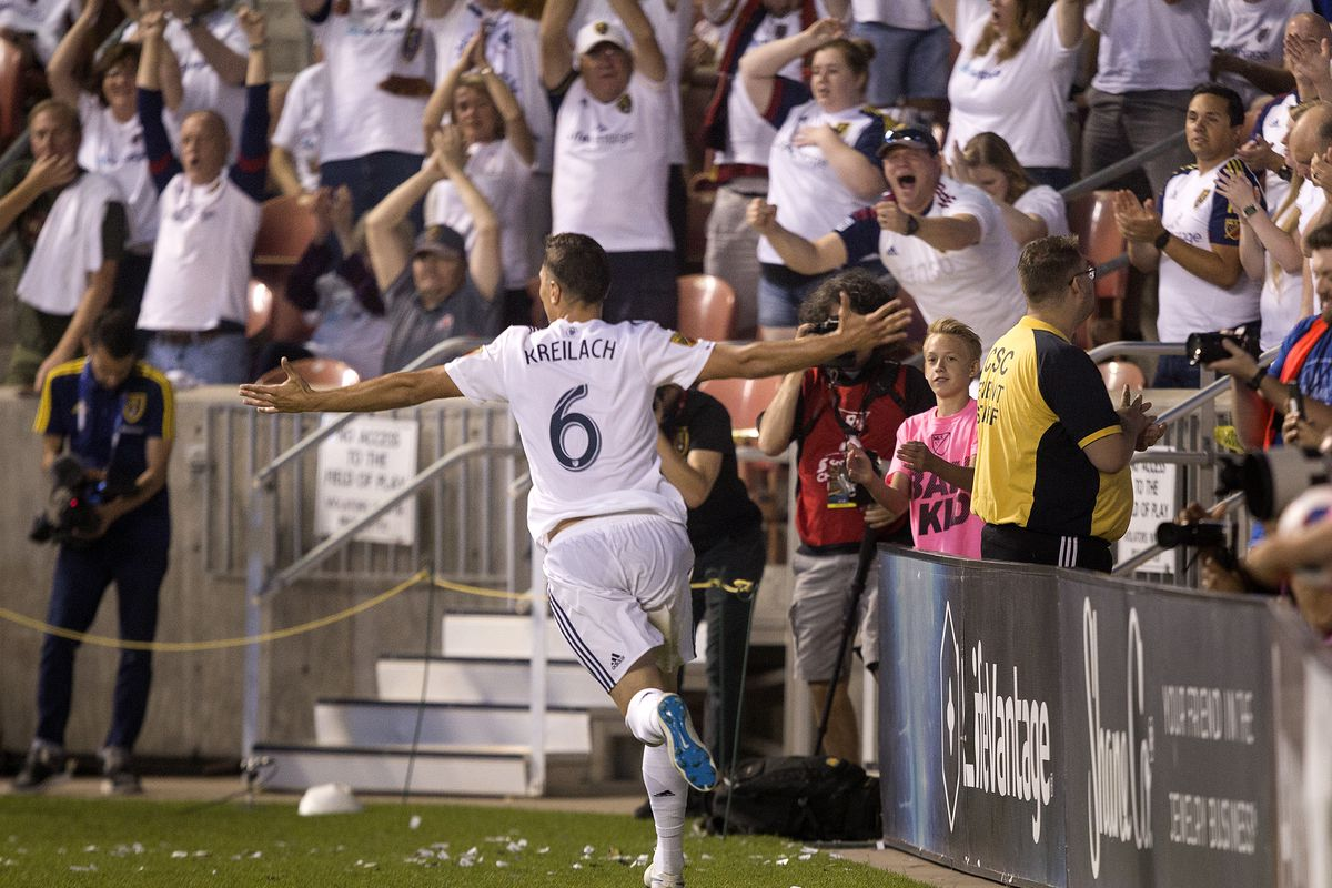 Real Salt Lake's Damir Kreilach (6) celebrates after scoring in extra time of the first half against the Chicago Fire at Rio Tinto Stadium in Sandy on Saturday, Aug. 4, 2018. Salt Lake won the match 2-1.