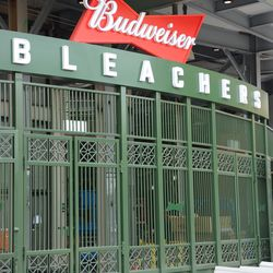 5:20 p.m. The main bleacher gate, with new Budweiser logos waiting to be attached to the gates -