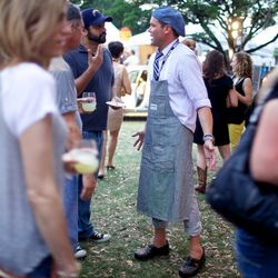 Brian Malarkey (and his leather Crocs?) rocking tacos on Saturday night. // photo by Patrick Michels