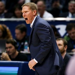 Gonzaga Bulldogs head coach Mark Few works the sideline during the game against the Brigham Young Cougars at the Marriott Center in Provo on Saturday, Feb. 22, 2020.