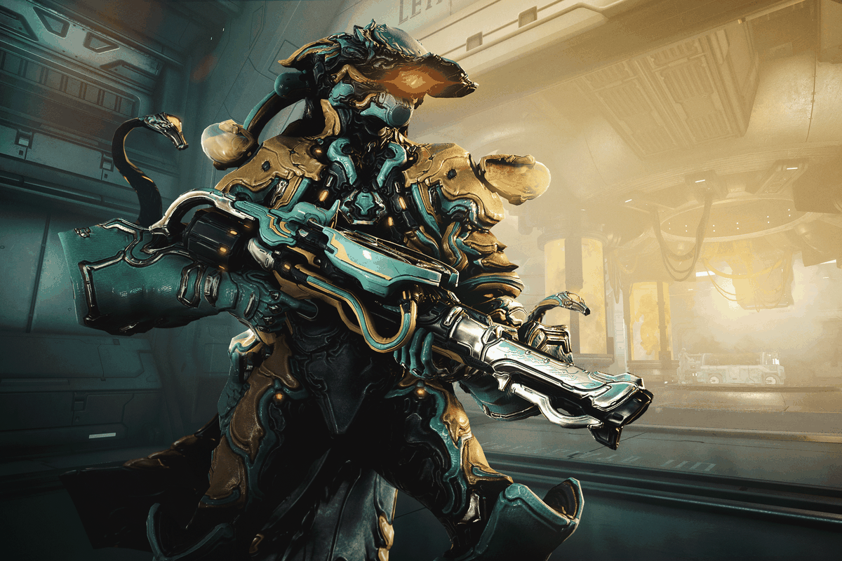 Warframe - the Lavos Warframe, coming in Operation: Orphix Venom, stands with his signature weapon