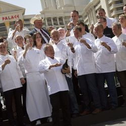Chefs in front of Caesars Palace for the Saber Off with Wolfgang Puck. Photo by Chelsea McManus
