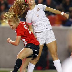 Davis' Ireland Dunn (2) beats Weber's Camyrn Karras (27) vying for a header in the 5A high school girls soccer championship at Rio Tinto Stadium in Sandy Oct. 23, 2015.
