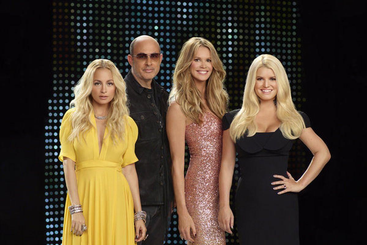 Fashion Star Host Elle MacPherson and Mentors John Varvatos, Nicole Richie, and Jessica Simpson