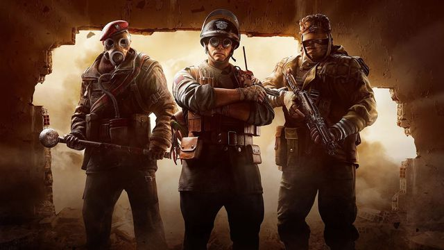 Three characters pose with their weapons in Rainbow Six Siege