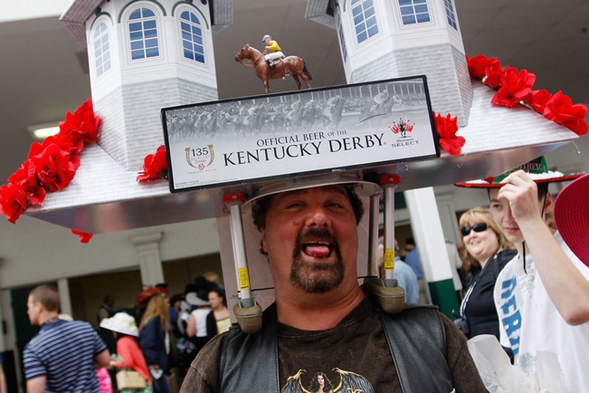 LOUISVILLE, KY - MAY 02: A race fan wears an elaborate hat before the 135th running of the Kentucky Derby on May 2, 2009 at Churchill Downs in Louisville, Kentucky. (Photo by Jamie Squire/Getty Images)
