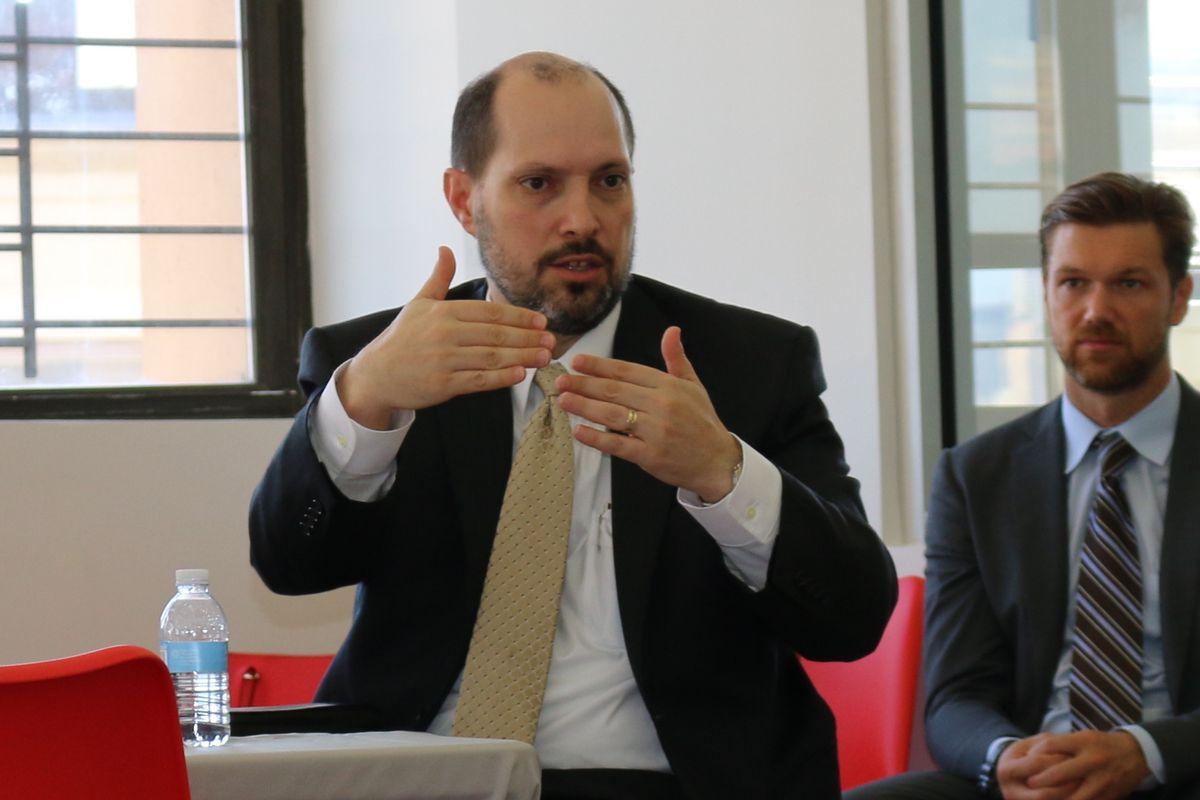 Joseph South spoke on a panel at Brooklyn Laboratory Charter School Tuesday.