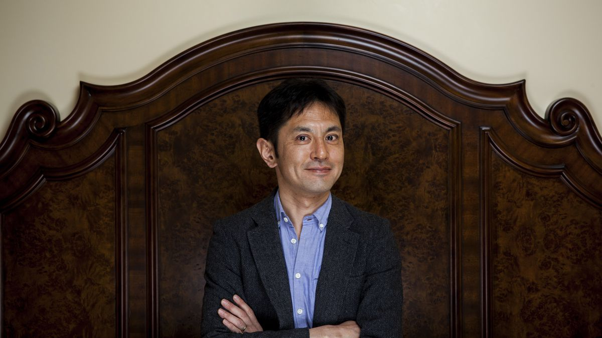 Animation director Goro Miyazaki, son of famous Japanese animator Hayao Miyazaki, is photographed i