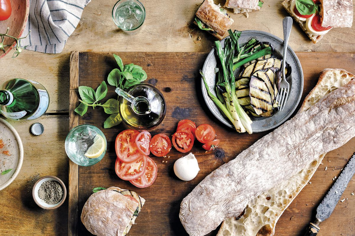 A spread of Italian breads and sides from Bread on the Table