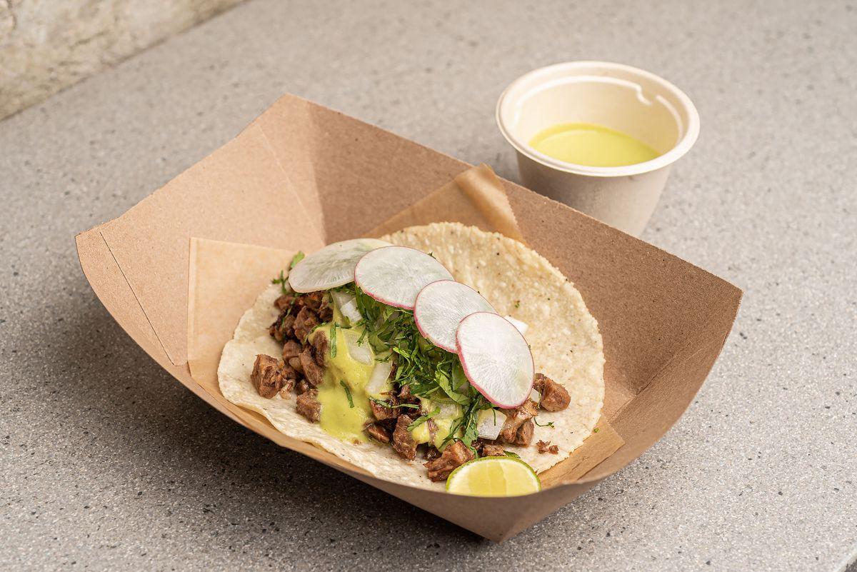 Suadero taco with guachile salsa
