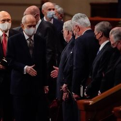 President Russell M. Nelson, president of The Church of Jesus Christ of Latter-day Saints, exits after the Saturday evening session of the church's 191st Semiannual General Conference at the Conference Center in Salt Lake City on Saturday, Oct. 2, 2021.