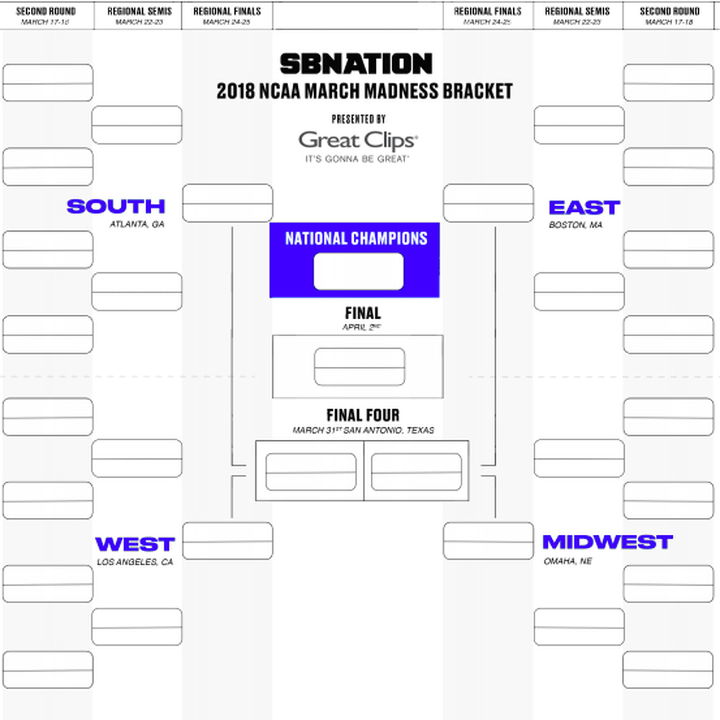 Printable Ncaa Bracket 2018 Start Making Your Predictions