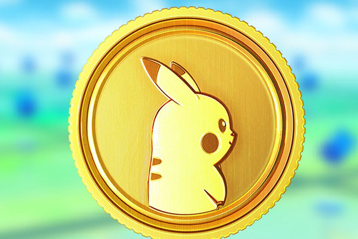 A Poké Coin with Pikachu on it next to the Pokémon Go logo