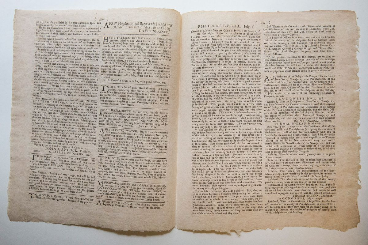 The first newspaper printing of the Declaration of Independence, as it appeared in The Pennsylvania Evening Post.