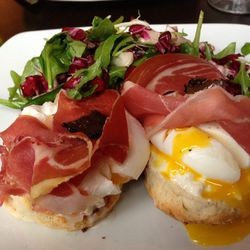 """Poached Egg with Prosciutto and Truffle Carpaccio from Fabbrica by <a href=""""http://www.flickr.com/photos/polsia/8244780958/in/pool-eater/"""">Polsia</a>"""