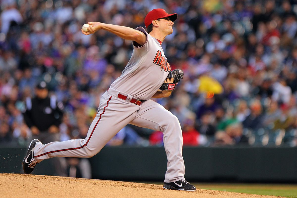 DENVER, CO - APRIL 13:  Starting pitcher Daniel Hudson #41 of the Arizona Diamondbacks delivers against the Colorado Rockies at Coors Field on April 13, 2012 in Denver, Colorado.  (Photo by Doug Pensinger/Getty Images)
