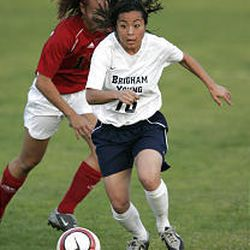 BYU's Charlene Lui controls the ball during BYU's 2-0 defeat to SDSU on Wednesday at the MWC soccer tournament in Las Vegas.