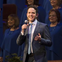 Guest performer Santino Fontana performs with the Tabernacle Choir during the annual Pioneer Day concert Friday, July 18, 2014, in Salt Lake City at the Conference Center.