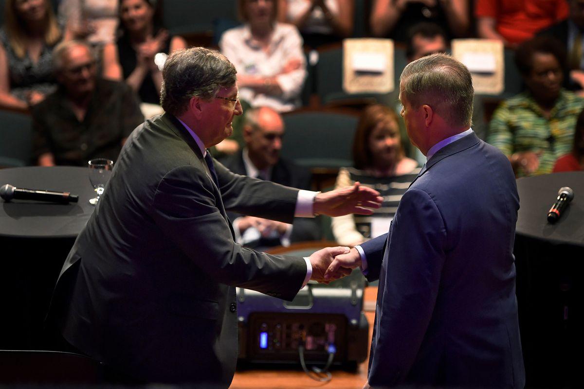 House Minority Leader Craig Fitzhugh shakes hands with former Nashville Mayor Karl Dean, right, after the Tennessee Democratic gubernatorial debate on June 19 at Belmont University in Nashville.