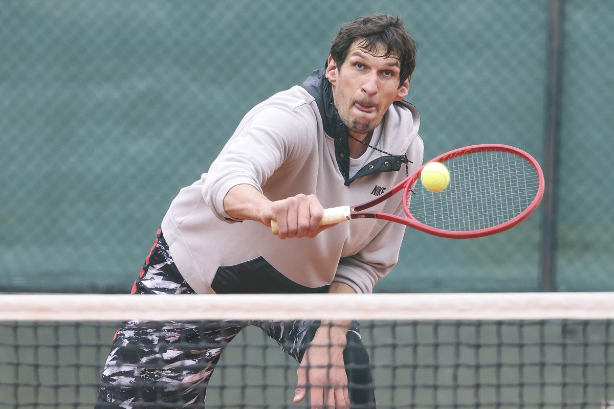 Boban Marjanovic Plays A Tennis Match