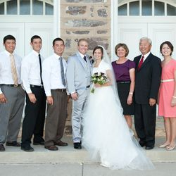 Norm Fukui, second from right, with his family at the Logan Temple for his daughter\'s wedding.