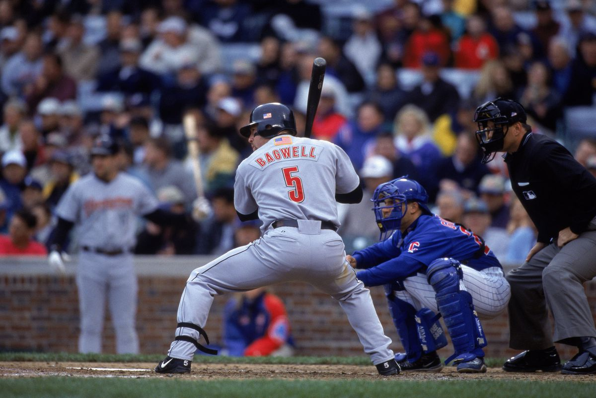 Houston Astros first baseman Jeff Bagwell #5 prepares to swing the bat
