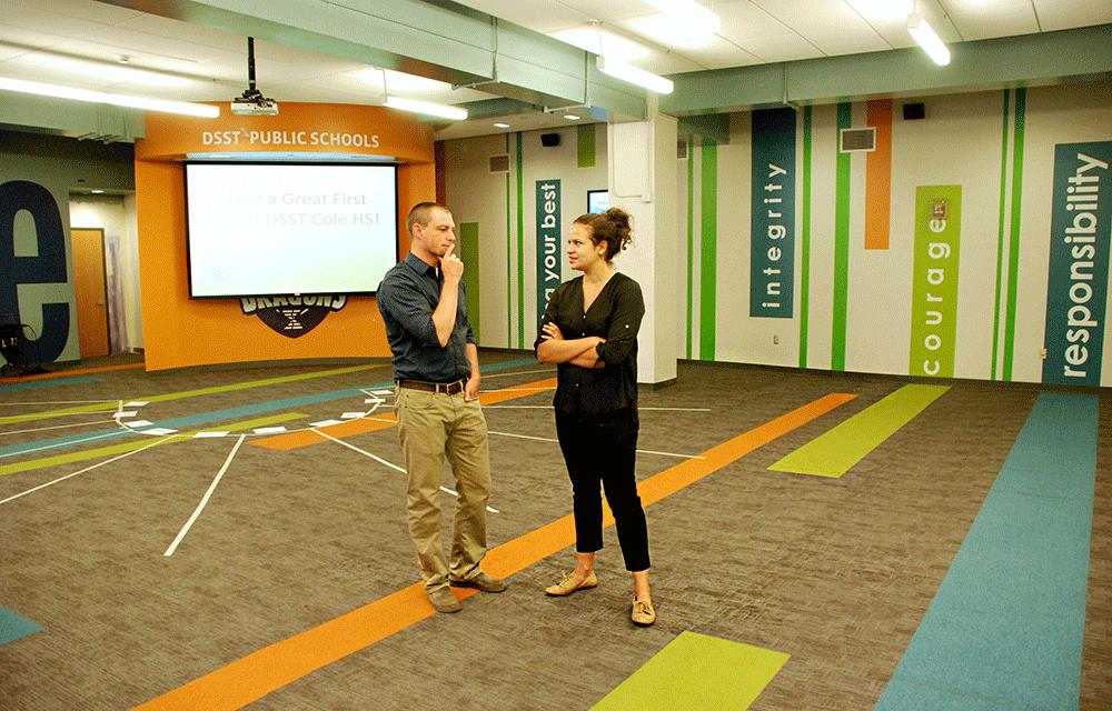DSST Cole High School Director Ben Cairns and DSST Director of Schools Rochelle Van Dijk discuss Cairns' first morning meeting.
