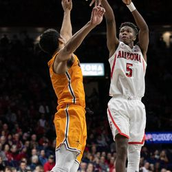 Brandon Randolph takes a fadeaway jumper past a UTEP defender during the Arizona-University of Texas El Paso game in McKale Center on November 14 in Tucson, Ariz. Randolph finished with 21 points and four rebounds.