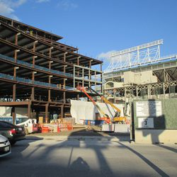 Fri 12/18: Plaza building, another view through the Clark Street gate -